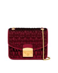 Burgundy Quilted Velvet Crossbody Bag