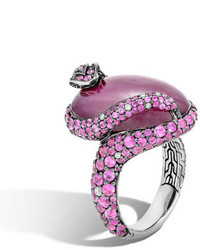 John Hardy Indian Ruby Pink Sapphire Cobra Ring With Diamonds