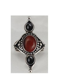 The Silver Dragon Gothic First Finger Ring Handcrafted In Sterling Silver And Accented With Red Tiger Eye And Black Onyx Made In America