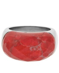 West Coast Jewelry Ring With Half Circle Of Red Howlite Stone Size 6