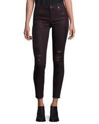 Burgundy Ripped Skinny Jeans