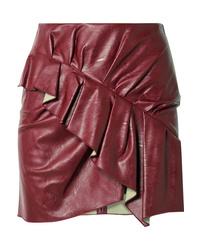 Isabel Marant Etoile Zeist Ruffled Faux Textured Leather Mini Skirt