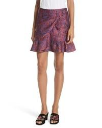 Burgundy Ruffle Mini Skirt