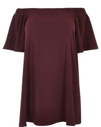 River Island Plus Burgundy Bardot Swing Dress