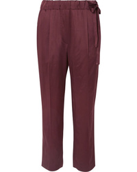 Brunello Cucinelli Cropped Satin Straight Leg Pants