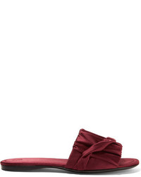754cc21be4aa Burgundy Satin Flat Sandals for Women | Women's Fashion | Lookastic.com