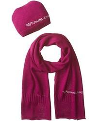 Armani Jeans Burgundy Mix Wool Beanie And Scarf Set