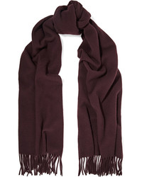 Acne Studios Canada Narrow Fringed Wool Scarf Merlot