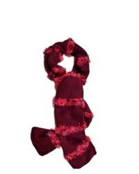 Fownes Burgundy Scarf Pink Feather Yarn Fringe