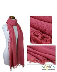 NOVICA Cotton Sunset Red Scarf