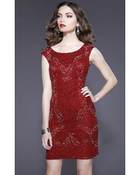Shail K 21215 Embellished Fitted Scoop Dress