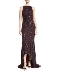 Theia Beaded High Neck High Low Gown Burgundynavy