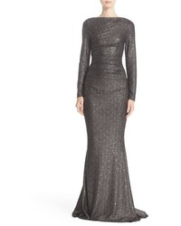 Sequin glitter jersey ruched gown medium 834677