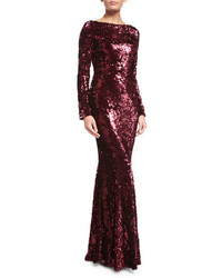 Talbot Runhof Sequined Boat Neck Long Sleeve Gown Burgundy