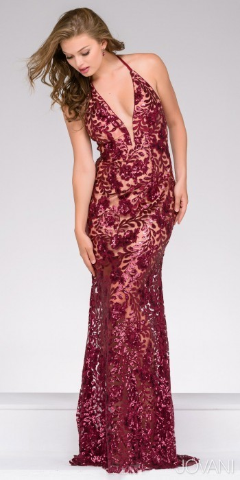Jovani Sequined Lace Plunging V Neck Prom Dress | Where to buy & how ...