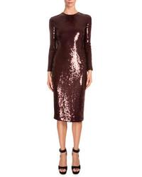 Givenchy Long Sleeve Embellished Sheath Dress Burgundy