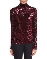 Talbot Runhof Ladina Sequined Turtleneck Top Burgundy