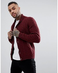 Asos Cable Knit Cardigan With Shawl Collar