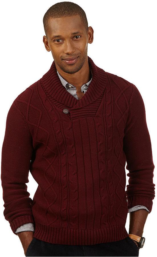 b90ec4e382e6 Nautica Cable Shawl Collar Button Sweater