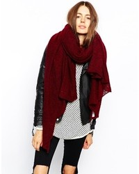 Asos Oversized Knit Scarf Burgundy