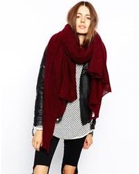 Asos Oversized Knit Scarf Burgundy