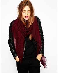 Asos Wool Mix Open Weave Scarf Burgundy