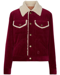 Faux shearling lined corduroy jacket burgundy medium 5258840