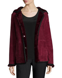 Tory Burch Hooded Shearling Fur Jacket With Crochet Edge