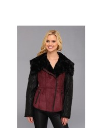 Jessica Simpson Faux Shearling And Faux Leather Moto Jacket Coat Burgundy