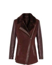 Reiss Tammy Shearling Leather Jacket