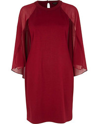 River Island Dark Red Chiffon Cape Sleeve Shift Dress