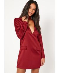 Missguided Silky Choker Neck Shift Dress Burgundy