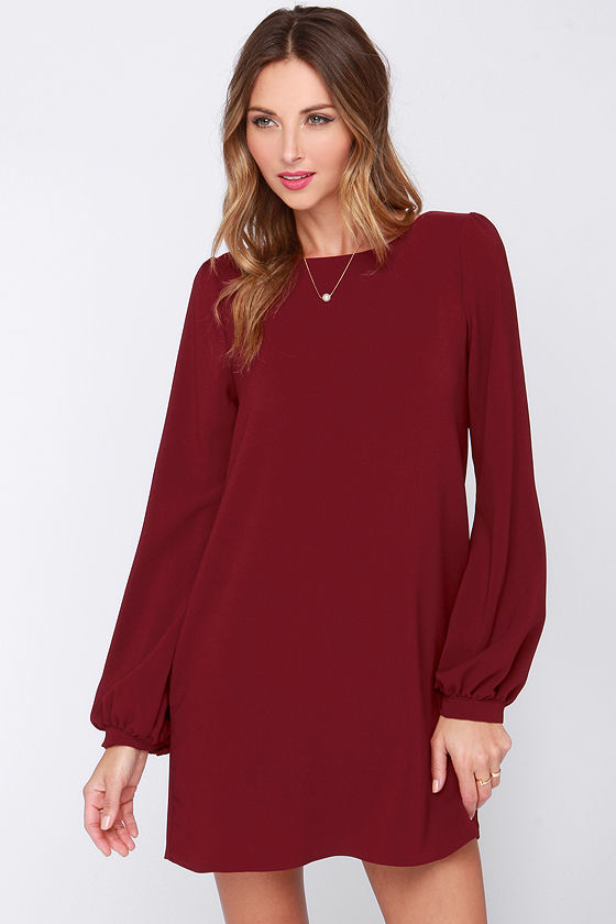 f9119c70768f ... Burgundy Shift Dresses Perfect Situation Blush Pink Long Sleeve Shift  Dress ...