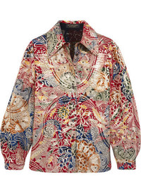 Burberry Metallic Jacquard Shirt Red