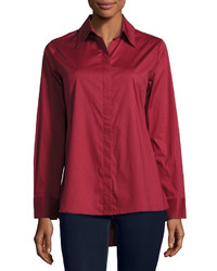 Neiman Marcus Swing Back Button Down Blouse Burgundy