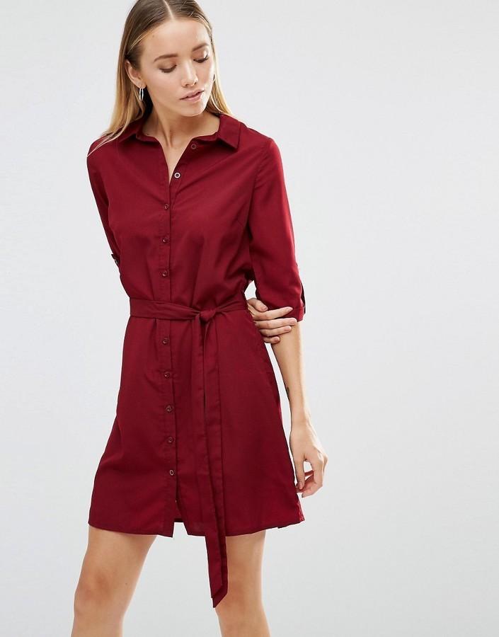 11c0630a06c6 ... Burgundy Shirtdresses AX Paris Tie Waist Shirt Dress ...