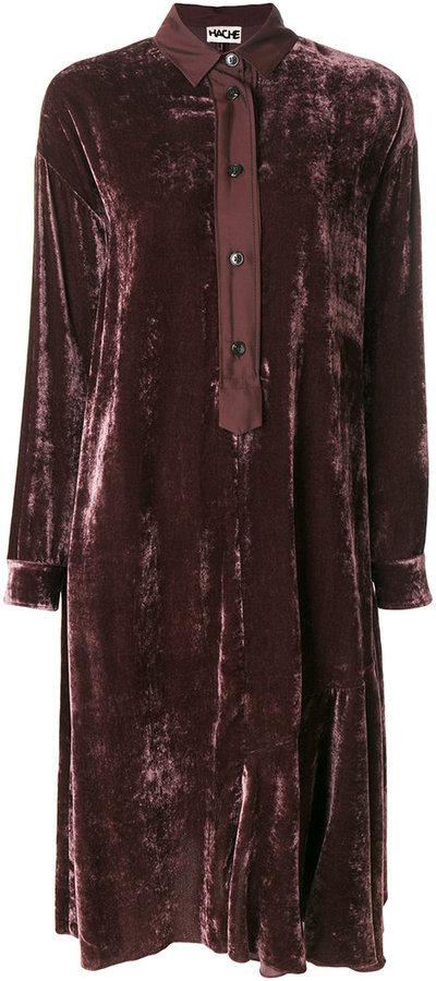 2b1c0f17 Hache Velvet Button Up Shirt Dress, $548   farfetch.com   Lookastic.com