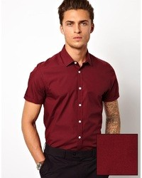 Men's Burgundy Short Sleeve Shirts from Asos | Men's Fashion