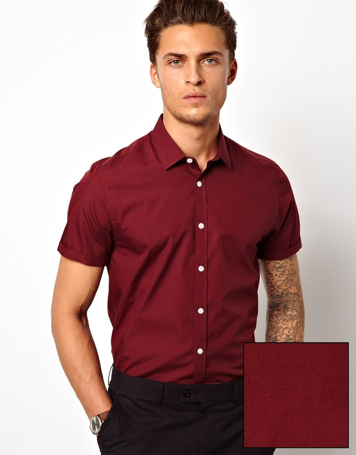 Burgundy short sleeve shirt mens is shirt for Short sleeved shirts for men