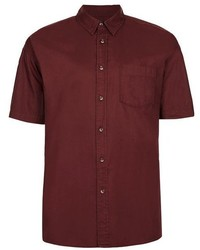 Topman Burgundy Oxford Short Sleeve Shirt