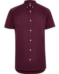 River Island Burgundy Short Sleeve Casual Oxford Shirt