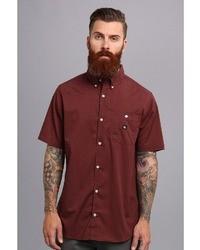 Burgundy Short Sleeve Shirt Mens | Is Shirt