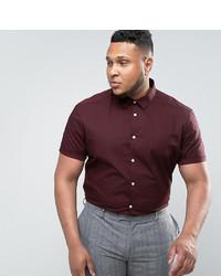 Asos Plus Slim Shirt In Burgundy In Short Sleeves