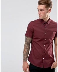 Asos Slim Shirt In Burgundy With Short Sleeves