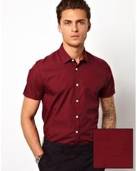 Men's Burgundy Short Sleeve Shirts by Asos | Men's Fashion