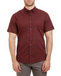 Ben Sherman Trim Fit Stripe Dot Short Sleeve Sport Shirt