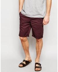 Asos Brand Slim Chino Shorts In Burgundy