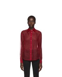 Helmut Lang Red Organza Shirt