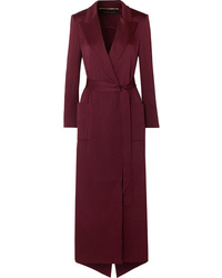 Burgundy Silk Duster Coat