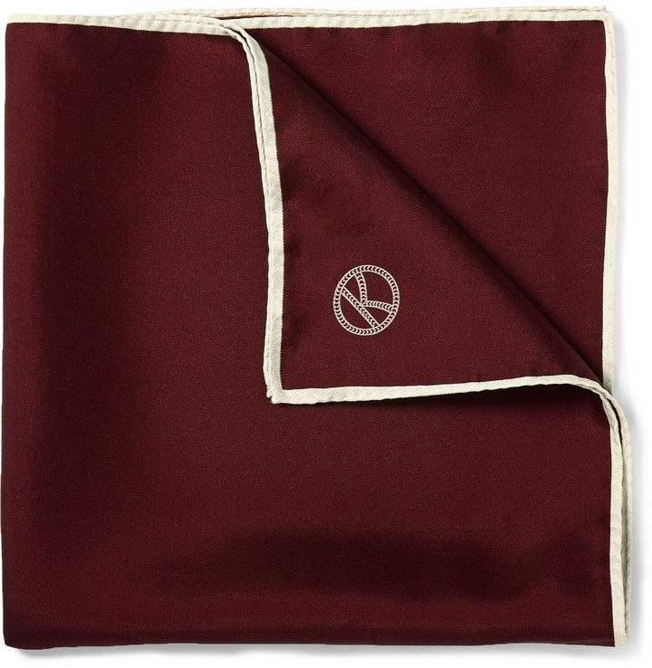 Drakes Kingsman Drakes Wool And Silk Blend Pocket Square